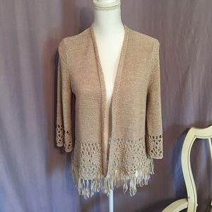 Style&Co Petite Pointelle-Knit Fringe Cardigan